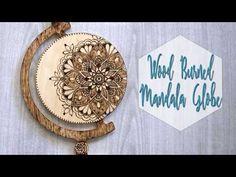 Wood Burned Mandala Globe Shape with Video Tutorial
