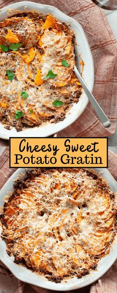 Indulge in something satisfying and filling with this Cheesy Sweet Potato Gratin. Made with sweet potatoes, loads of spices, almond milk, and gruyere cheese, it's a cozy and delightful dish that's perfect as a side or a main course. Veggie Side Dishes, Potato Dishes, Healthy Side Dishes, Side Dish Recipes, Dinner Recipes, Fun Recipes, Recipe Ideas, Gruyere Cheese, Healthy Pumpkin
