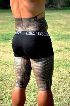 Lower Back And Back Leg Simple Samoan Tattoo