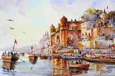 Spectacular Watercolor Paintings by Thanakorn Chaijinda ~ Cool Stuff Directory Watercolor Paintings For Beginners, Watercolor Landscape Paintings, Landscape Drawings, Watercolor Artwork, Landscape Art, Landscapes, Chiang Mai, Flower Line Drawings, Indian Art Paintings