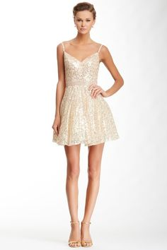 La Femme Sequined Rhinestoned Waist Dress by La Femme on @HauteLook