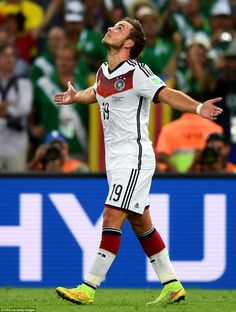 World cup winner: Götze looks to the heavens after scoring the goal that would net his team the World Cup