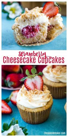 Strawberry Cheesecake Cupcakes combine everything you love about all your favorite desserts into one delectable sweet treat. The delectable graham cracker cupcakes are filled with a made-from-scratch strawberry purée, and then topped off with a rich and c Strawberry Cheesecake Cupcakes, Strawberry Puree, Strawberry Recipes, Fudge Recipes, Cupcake Recipes, Cupcake Cakes, Dessert Recipes, Baker Recipes, Cheesecake Recipes