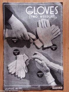 No.112 Ladies,Man's & Child's GLOVES - Vintage Knitting Pattern