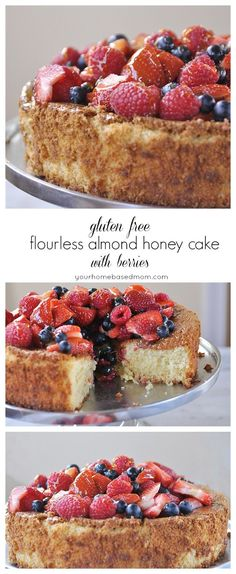 Free Flourless Almond Honey Cake with Berries gluten free flourless almond honey cake with berries - it's amazing! No one will know it's gluten free free flourless almond honey cake with berries - it's amazing! No one will know it's gluten free @ Gluten Free Sweets, Gluten Free Cakes, Gluten Free Baking, Dairy Free Recipes, Gluten Free Almond Cake, Paleo Baking, Baking Recipes, Healthy Desserts, Just Desserts