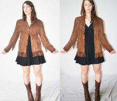 Chocolate Brown Motorcycle Jacket, Suede Leather, Western Fringe with cowboy boots and a little black dress.