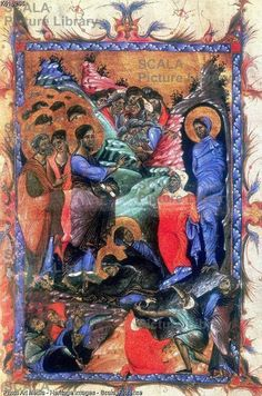 ******** Jesus raising Lazarus after four days, c1280.  Jesus raising Lazarus after four days c1280. Martha and Mary, sisters of Lazarus, kneel at Jesus feet. From an Armenian Evangelistary, a book containing parts of the Christian Gospels which was used during the liturgy.