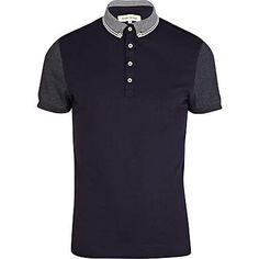 Navy contrast collar and sleeve polo shirt - polo shirts - t-shirts / vests - men