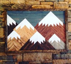 Mountain wall art, made of individually cut pieces of wood and arranged in a mosaic depicting mountain peaks. ♦ Its Large. MEASURES 37 X 26 (3+ feet x 2+ feet) FRAMED. ♦ A GREAT DEAL on a piece this size. Just look around. ♦ MADE IN USA ♦ Add rustic character, warmth and coziness to any room. ♦ Conversation piece! ♦ Can be customized (colors, sizes, etc. Just ask) ♦ Hangs easily on a screw (comes with a wire hanger attached to back)  ✎ADDITIONAL DETAILS:  PRODUCT DESCRIPTION This rustic…