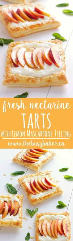 Enjoy these Fresh Nectarine Tarts with Lemon Mascarpone Filling for a sweet summer treat! www.thebusybaker.ca