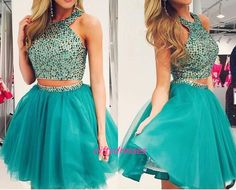 Cute Homecoming Dresses,Two Pieces Homecoming Dress,Halter Neck Prom Dress,Beading Crystal Prom Gown,Tulle Homecoming Dress,Prom Dress for Teens