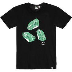 Puma Brand Shoe Box Tee Mens 570405-01 Black Green Graphic T-Shirt Size M