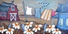 a-la-campagne-cindy-pare Peintures Bob Ross, Bob Ross Paintings, Paint And Sip, Tole Painting, Barn Wood, Art Tutorials, Art Boards, Folk Art, Canvas Art