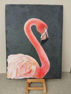 Flamingo Acrylic painting on reclaimed Slate