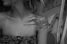Roses and Words Tattoo for Girl - Cool Collar Bone Tattoos, http://hative.com/cool-collar-bone-tattoos/,