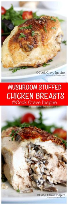 Mushroom Stuffed Chicken Breasts! This is the perfect dish, easy to make & incredibly GOOD! Bone in chicken breasts stuffed with a mushroom & mozzarella filling baked until perfectly juicy!