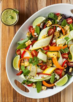Summer Produce Salad with Cilantro Lime Dressing