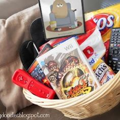 Gifts - Tip Junkie: Couch Potato basket!  Junk food, movie, handheld game etc. for Father's Day from Darling Doodles