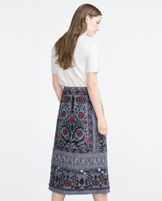 Image 3 of MID-LENGTH EMBROIDERED SKIRT from Zara