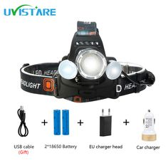 Uvistare T2 Newest Andrews interface 8000 LM Headlight Headlamp With S0S First Aid Camping Hunting Fishing Lights Aircraft Lamp