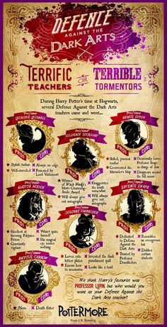 I should reallyget out more.: Official Harry Potter Pottermore Infographic: Defence Against the Dark Arts