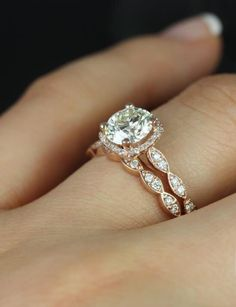 Rose gold, cushion halo, pave setting