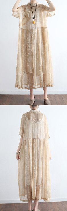 nude stylish print silk dresses plus size casual  maxi dress
