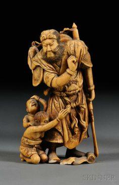 Shoki the Demon Queller | Ivory Carving, Japan, 19th century, Shoki, the demon qu
