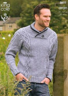 King Cole Men's Sweater & Gilet Big Value Aran Knitting Pattern 3603 Preview