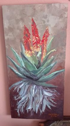 Aloe plant with red flowers. Canvas Painting Projects, Acrylic Painting Techniques, Canvas Art, Plant Painting, Gouache Painting, Nature Paintings, Oil Paintings, Plant Illustration, Art Drawings Sketches