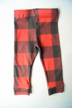 Buffalo Plaid Organic Cotton Leggings by GoldenCoastBaby on Etsy only $15!!