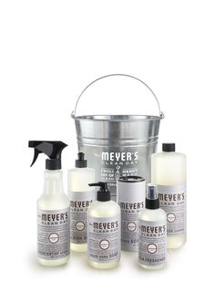 Lavender Cleaning Gift Bucket - contains our favorite household cleaners in this uplifting floral scent, packed in a galvanized bucket and ready to give, $36.99 | Mrs. Meyer's Clean Day