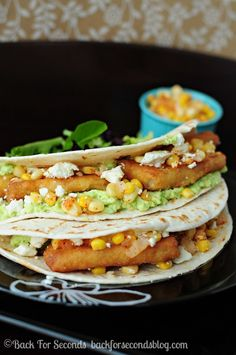 Mediterranean Fish Tacos - Super easy meal that tastes gourmet!  http://backforsecondsblog.com  #taco #easymeal #salsa