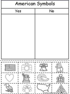 This worksheets practices cutting, gluing, and the knowledge of American symbols. Students cut out each symbol and glue on the respective side. Kindergarten Social Studies, Kindergarten Science, Teaching Social Studies, Student Teaching, Kindergarten Classroom, Kindergarten Worksheets, Preschool, Social Studies Notebook, Classroom Rules