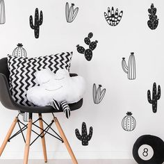 Nordic Cactus Waterproof Creative Wall Sticker Birthday Present Cartoon Sticker Bedroom Children's Room Background Decoration-in Wall Stickers from Home & Garden on Aliexpress.com | Alibaba Group