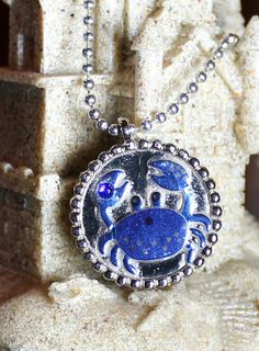 Charity Item Blue Crab Pendant  Benefits Ric O'Barry's The Dolphin Project by GreyGyrl, $10.00