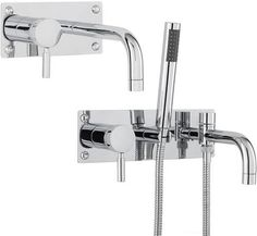 Tec wall mounted bathroom taps set for only at Bath Shower Mixer Taps, Bath Taps, Bathroom Tap Sets, Bathroom Hooks, Wall Mounted Basins, All Wall, Chrome