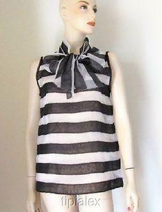New Gorgeous OSCAR DE LA RENTA Stripe Silk Blouse Top Sz.10