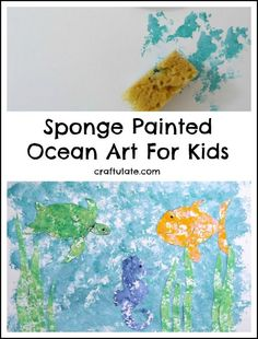 Sponge Painted Ocean Art - a textured art activity for kids