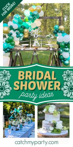 Take a look at this beautiful rustic bridal shower! The balloon garland is stunning! See more party ideas and share yours at CatchMyParty.com #catchmyparty #partyideas #bridalshower #rusticparty
