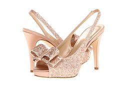 KATE SPADE Gracey Slingbacks Rose Gold Glitter/Rose Gold Satin $295 BEST PRICE!