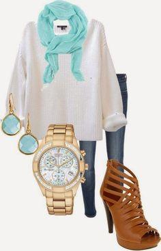 Cream Loose Sweater, Skinny Jeans, Aqua Light Scarf, Aquamarine and Gold Chunky Earrings, Gold Watch, Tan Leather Criss Cross Heeled Booties