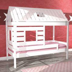 Spielbett KIDS-HOME, Kinderbett Haus, Massivholz, weiss, umbaubar, 90x200cm