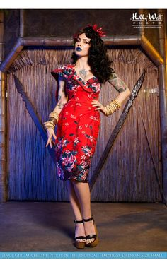 Deadly Dames- Tropical Temptress Dress in Red and Turquoise Hawaiian Print | Pinup Girl Clothing