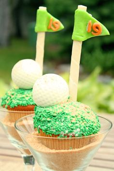 Golf cupcakes for the masters, fathers day or birthday Golf Cupcakes, Sprinkle Cupcakes, Cupcake Cakes, Cup Cakes, Cupcake Recipes, Blue Velvet Cupcakes, Golf Theme, Golf Party, Food Themes