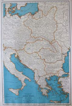Antique Map Of EUROPE Topographical Original Europe Map Poster - Vintage europe map poster