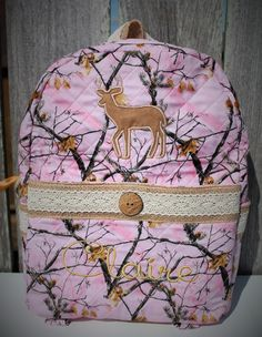 Quilted Pink Camo Backpack