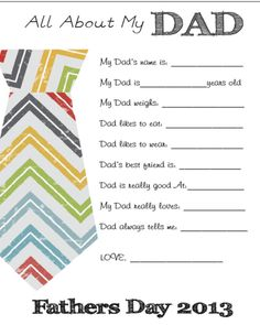 All About My Dad Free Printable - Gifts for Fathers Day - Brooklyn Berry Designs Baby Gifts For Dad, Gifts For Father, Father's Day Printable, Free Printables, Easy Fathers Day Craft, Daddy Day, Daddy Daughter, Sunday School Crafts, Easy Gifts