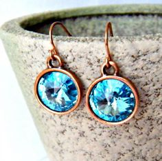 Aquamarine Crystal Earrings ... from 'CarrieCreative' on Lilyshop for $20.00