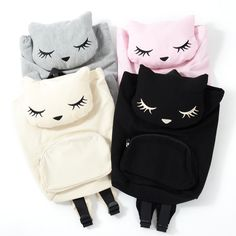 These super soft mini backpacks come in the shape of the adorable mascot of the I♡Pooh brand, Pooh-chan! Available in gray, black, ivory or pink, each of the conveniently sized backpacks has a cute Pooh-chan face on the top flap with a large central compartment which comes with a convenient drawstring closing and a tag with a clip on the end that you can use to attach your keys or another bag etc....